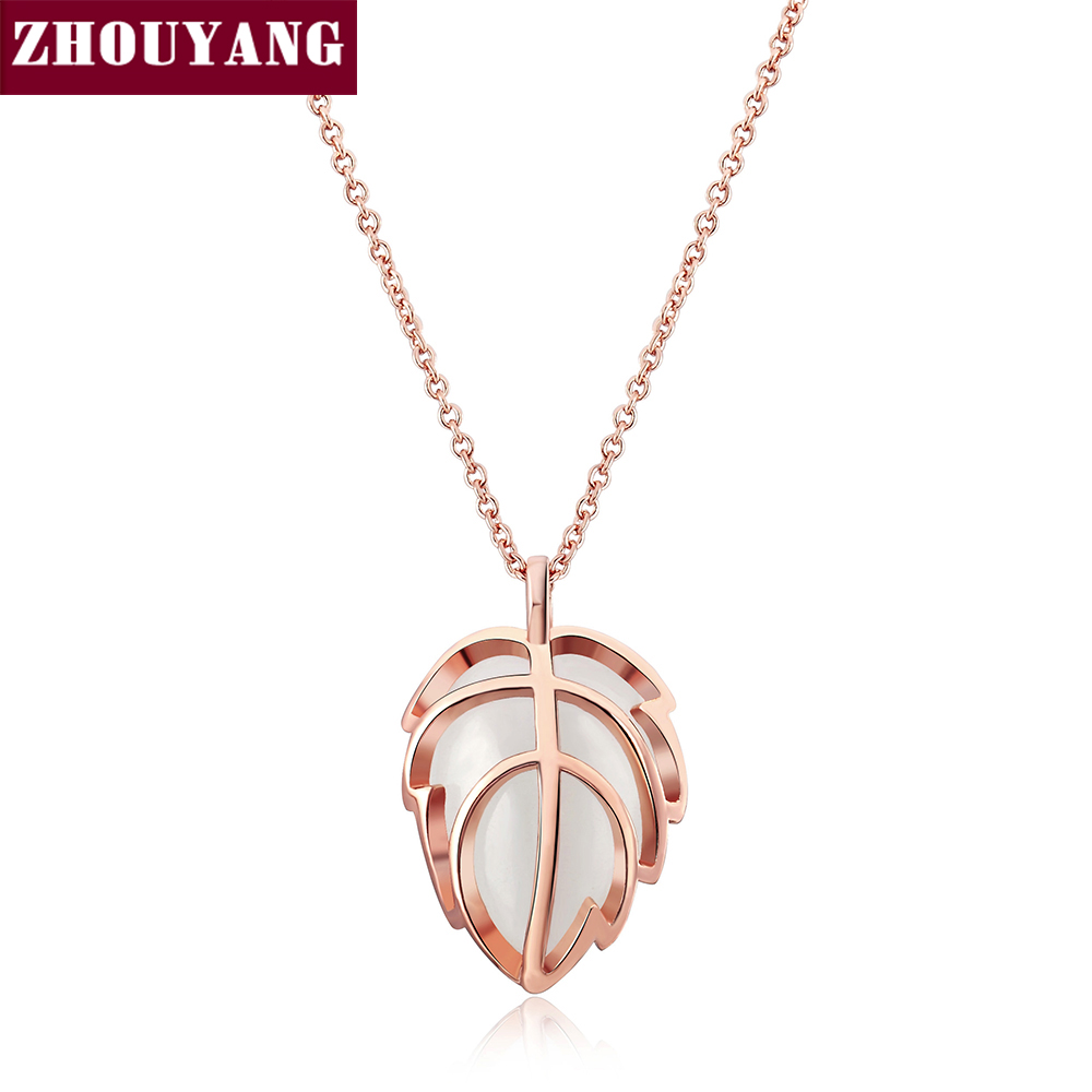 ZHOUYANG Top Quality ZYN274 Cute Leaf Rose Gold Color Fashion Pendant Jewelry Made with Austria Crystal Wholesale