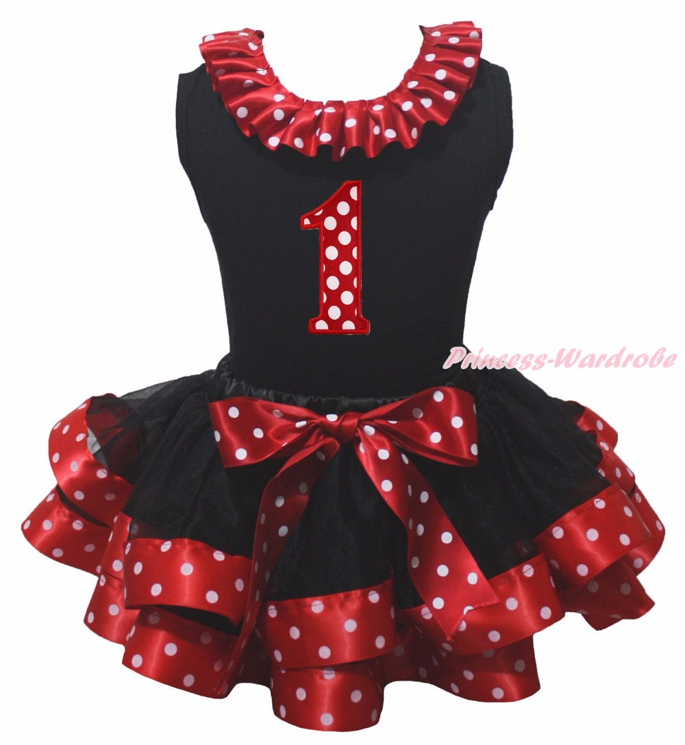 Black Cotton Lacing Shirt Black Red White Dots Petal Skirt Girl Outfit Set Dress 1st-6th Birthday Number Costume Nb-8y LKPO0025