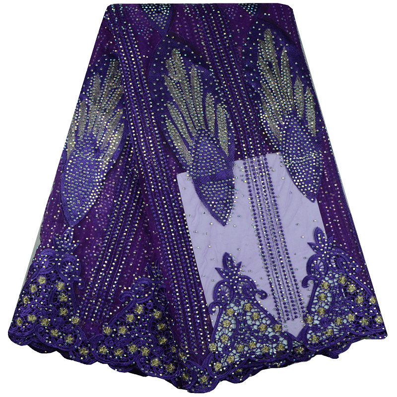2017 African Cord Lace High Quality French Lace Fabric With Plenty Stones Purple African Lace Fabric For Nigerian Wedding Dress