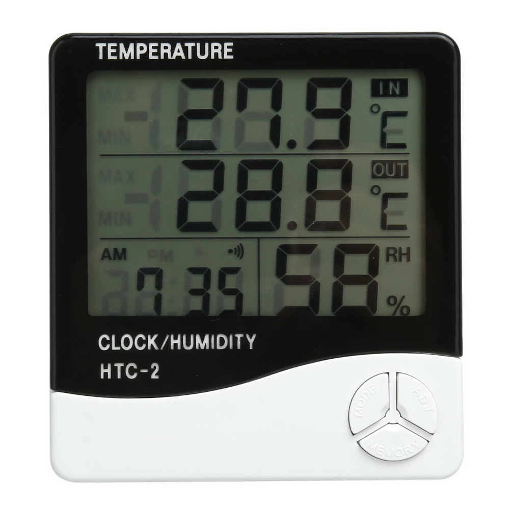 12/24H High accuracy LCD Digital Thermometer Hygrometer Indoor Electronic Temperature Humidity Meter Clock Weather Station
