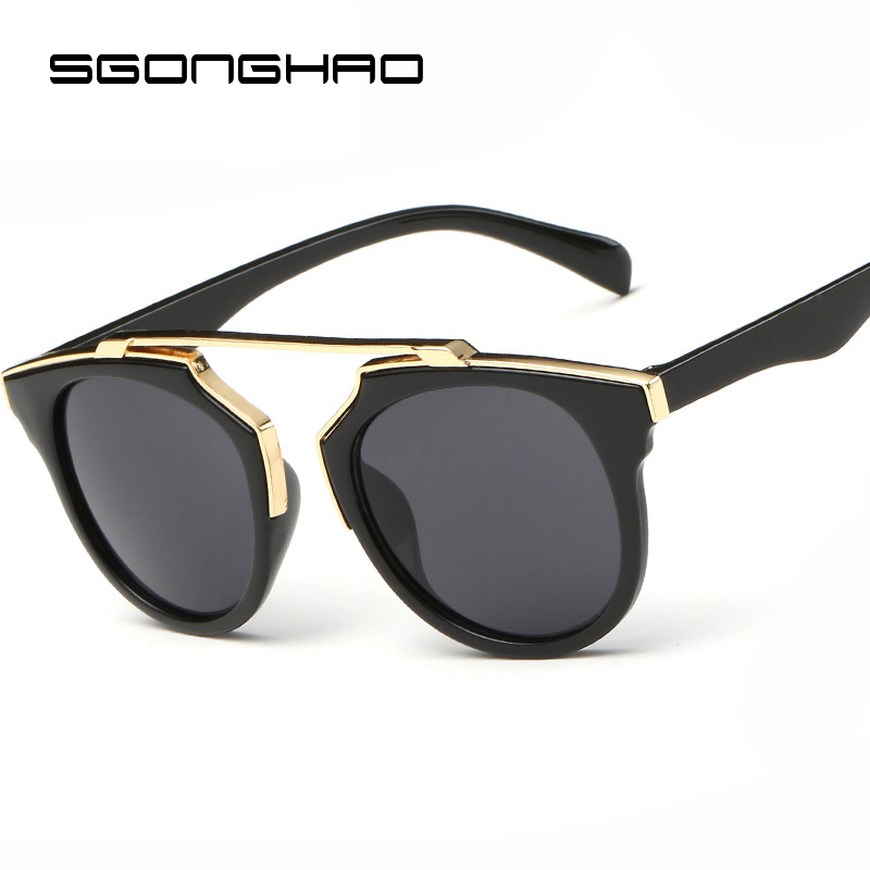 High Quality Retro Sunglasses Women Brand Designer Sunglasses Round Mirrored Shades Cat Eye Glasses