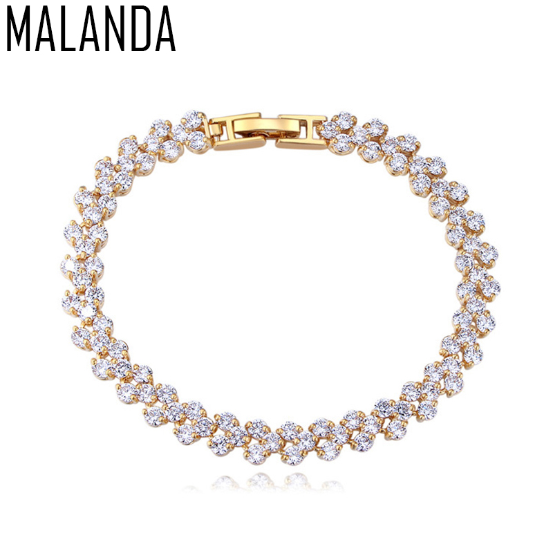 MALANDA Brand 2017 Fashion White Zircon CZ Bracelets Bangles For Women Luxury Gold Color Bracelets Wedding Party Jewelry Gift