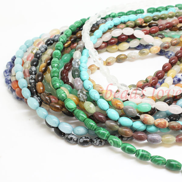 Pick style 1Strand 16(43pcs)Natural stone Oval Loose Beads 6mm*9mm (w02964-w02980)Free Shipping