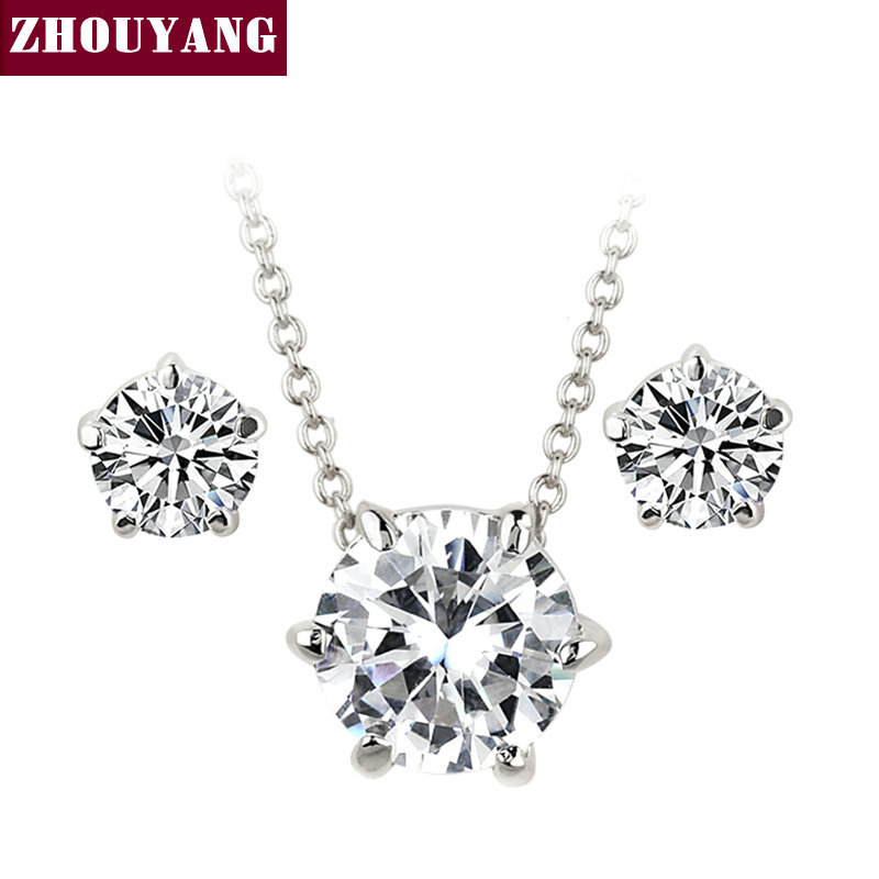 ZHOUYANG ZYS287 Five Jaw Set Cubic Zirconia Silver Color Jewelry Necklace Earring Set Rhinestone Made with Austrian Crystals